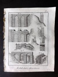 Diderot 1780's Antique Print. Architecture, Maconnerie 09 Masonry